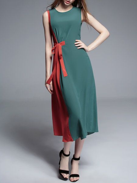 Shop Midi Dresses - Casual Sleeveless Silk Midi Dress online. Discover unique designers fashion at StyleWe.com.
