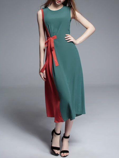 Shop Midi Dresses - Casual Sleeveless Silk Midi Dress online. Discover unique designers fashion at StyleWe.com.