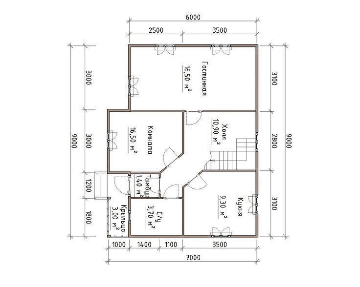 Готовый проект каркасно-щитового дома 7X9 от Строительной компании «ДОМ МЕЧТЫ».