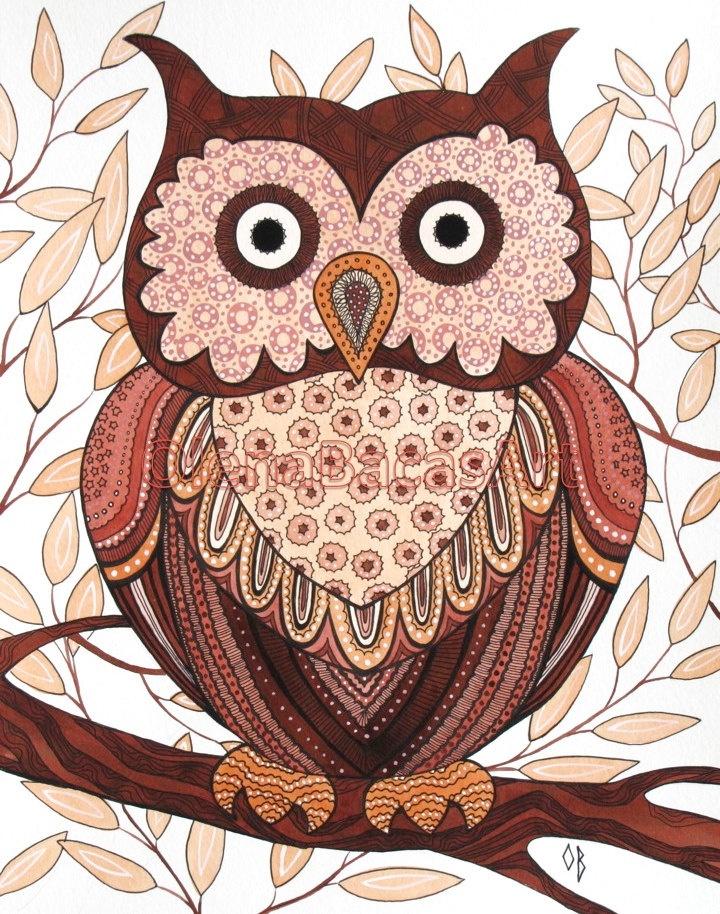 рисунки филина и совы аккуратненькая