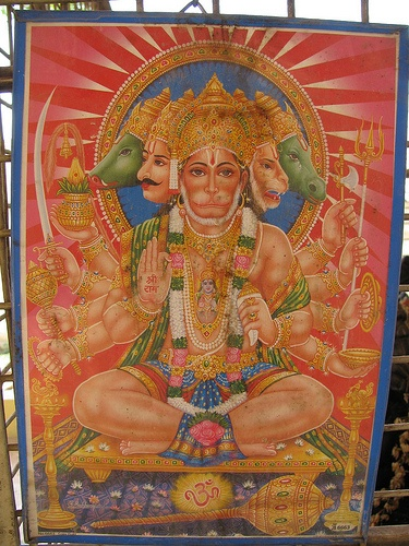 Panchamukha Hanuman Poster in Nellurhalli Temple