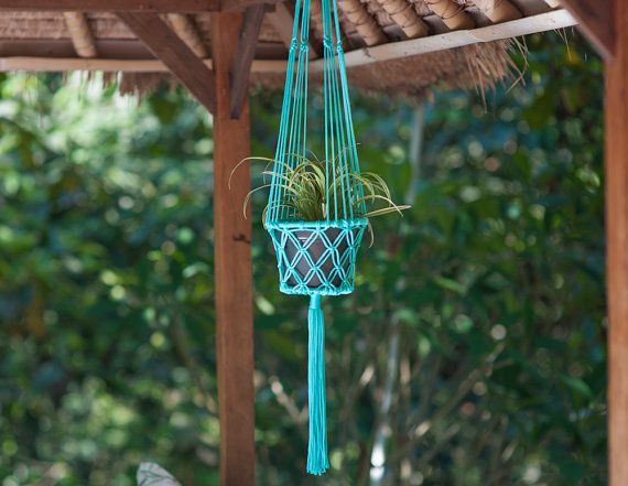 Boheemse Flower Pot Hanger - Mint Aqua Macrame Plant Holder - Boho Hippie huis tuin Decor - rand binnen/buiten Decor - cadeau idee