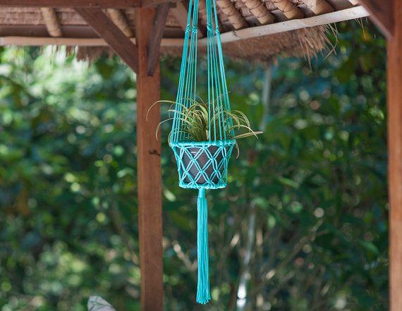 Boheemse Flower Pot Hanger - Mint Aqua Macrame Plant Holder - Boho Hippie huis tuin Decor - rand binnen/buiten Decor - cadeau idee