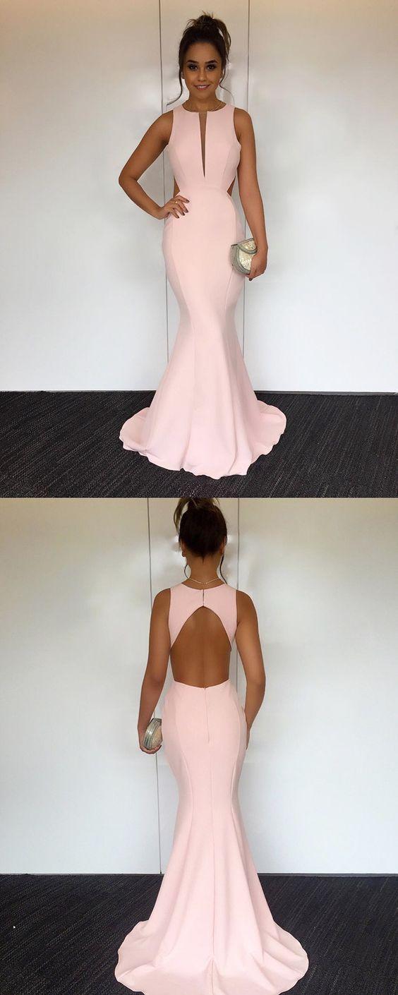 Mermaid Blush Pink Prom Dress,Sexy Keyhole Back Evening Dress,Blush Pink Graduation Party Dress