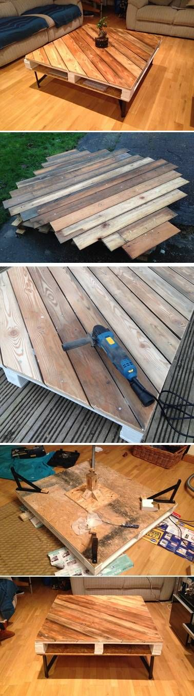 DIY Industrial Style Coffee Table. Cedar cladding cut diagonally and nailed to pallet with galvanised nails. Ikea shelf angle supports as legs and hidden central support stud. Exposed pallet structure painted white and table top and base OSB board sealed with clear gloss varnish. #palletproject #palletideas