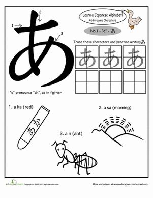 Kindergarten Japanese Foreign Language Worksheets: Japanese Alphabet: Hiragana