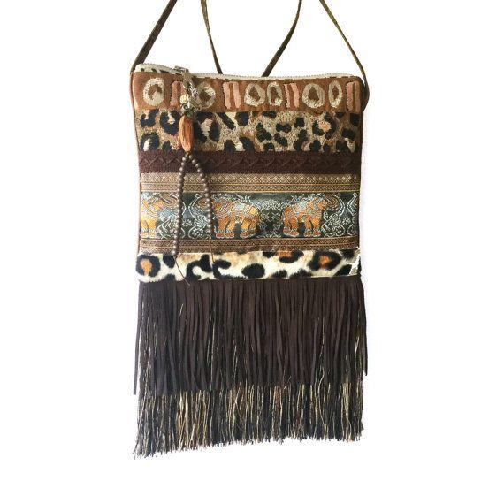 Afrikaans tasje klein, bohemian tasje olifanten band, schoudertasje bruin, luipaard tasje franje, handgemaakt tasje OOAK, exclusief cadeau