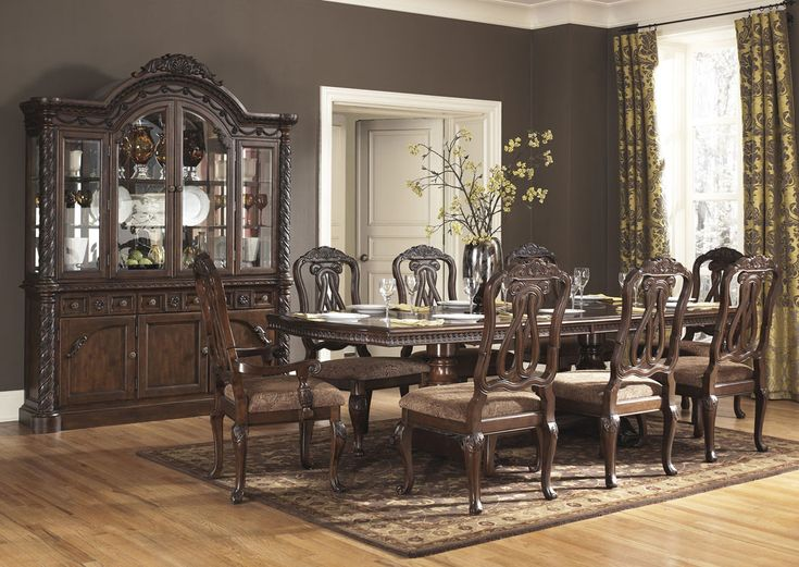 North Shore, North Shore Rectangular Double Pedestal Dining Table Set,  Dining Room Table Sets, Bedroom Furniture, Curio Cabinets And Solid Wood  Furniture ...