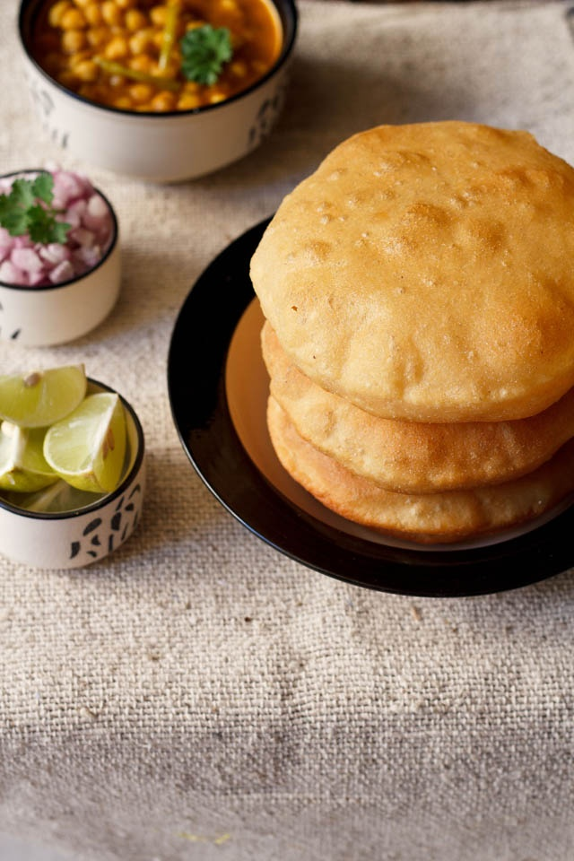 Bhatura - Leavened fried bread served with chickpea curry.