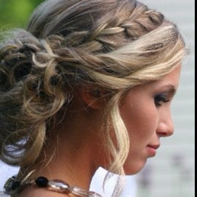 Loosely curled updo