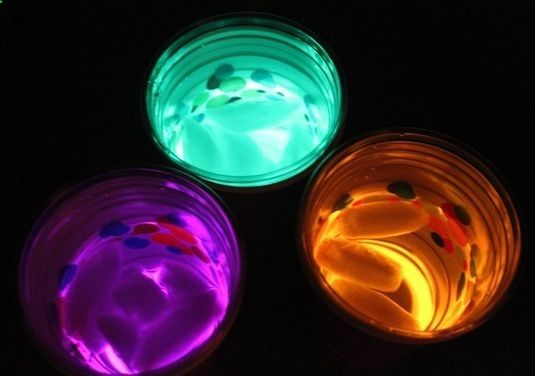 This is probably my favorite glow in the dark party idea. the glow sticks aren't actually in the beverage. They are resting at the bottom of one cup, with a clear plastic cup on top where the drink goes. Genius! 20 more Cool Glow Stick Ideas