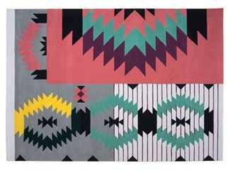 Handmade rectangular wool rug with geometric shapes IRONIC - Dare to Rug