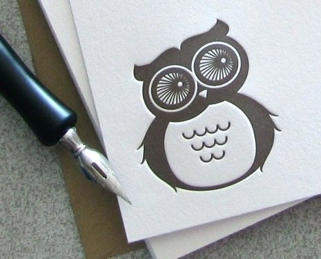 NOTECARDS Letterpress 10PK Owl NHL01S10 by sweetharvey on Etsy