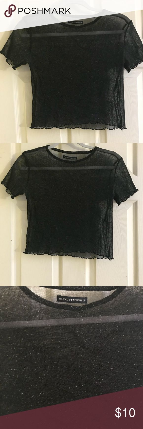 Brandy Melville sparkly black see through top. Brandy Melville sparkly black see through top. Size small. Brandy Melville Tops Crop Tops