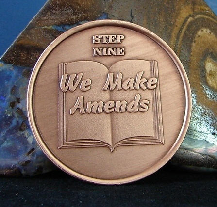 Solid Copper Alcoholics Anonymous AA Step 9 Medallion NA Narcotics Alanon WEND