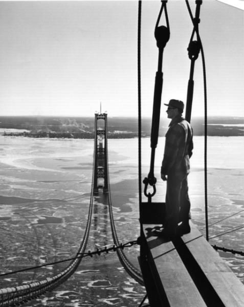 History Shot - This guy had a great view at work while building the Mackinac Bridge in the 1950's