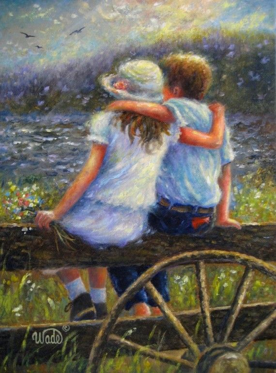 Summer Love, Original Oil Painting, country kids, hugging, art, farm kids, boy and girl, young love, Vickie Wade art