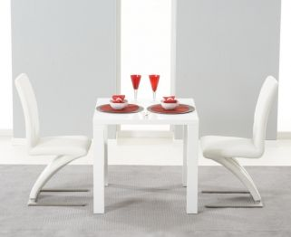 Hereford White High Gloss Dining Set - with 2 White Hereford Chairs
