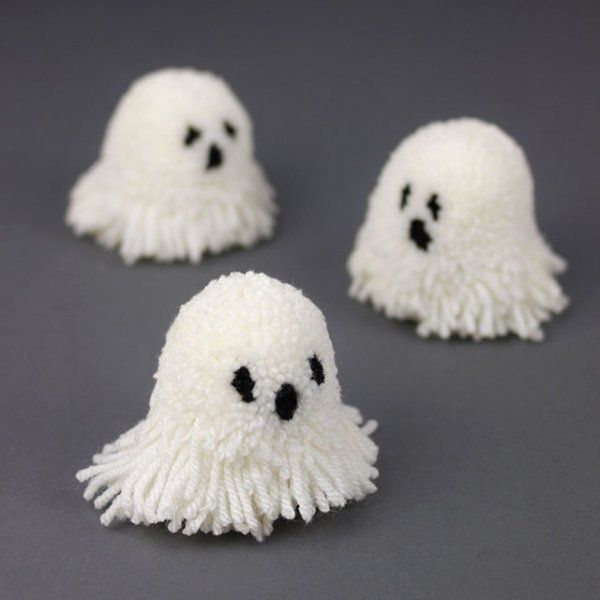 Pompons effrayants, fantome / Scry pompom, ghost, halloween