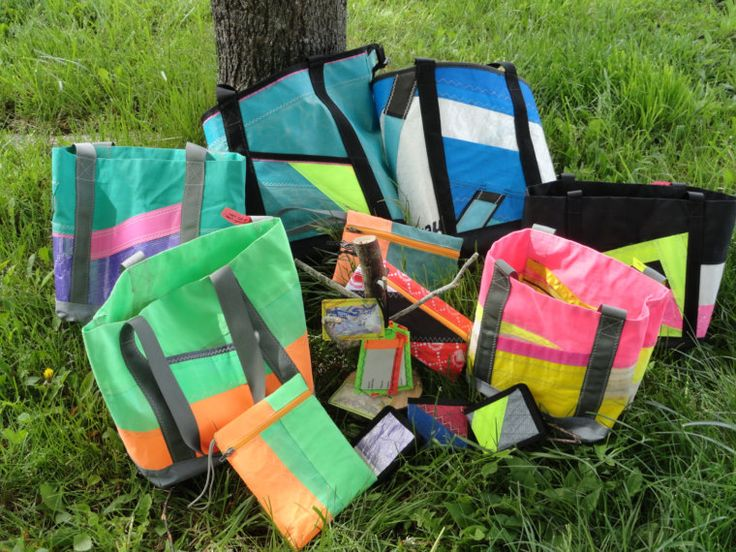 Etsy - About sewswelldesigns - old windsurfing sails turned into tote bags!