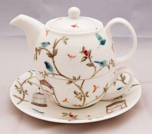 Fine Bone China Tea for One set in the Bird Cage Design by Nina Campbell David Bradbury