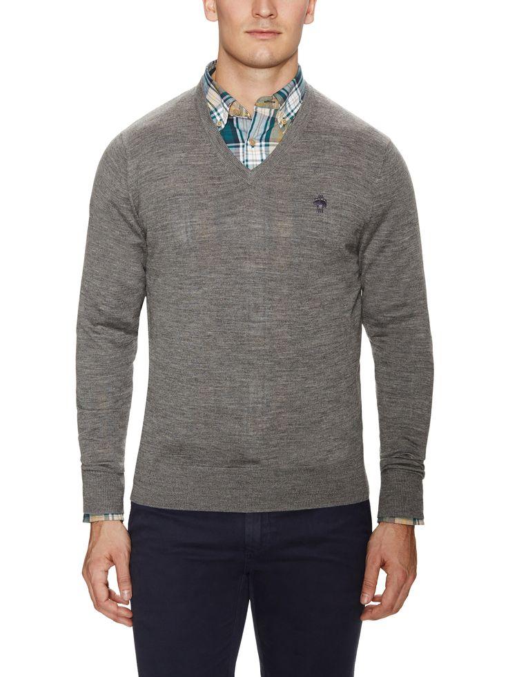 Merino Tip Chest Logo V-Neck Sweater