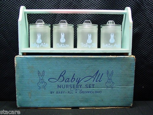 Vintage Nursery GLASS BUNNY Baby Dresser Container Jar Set with Carrier & BOX