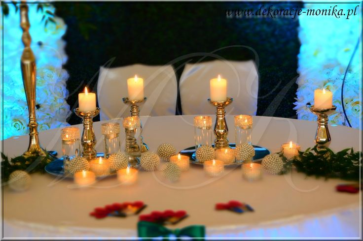 dekoracja stołu Młodej Pary, table decoration