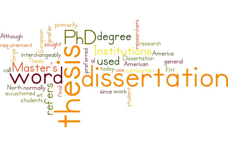 Dissertation or Thesis are used interchangeably today, the American Institutions at large prefer the word dissertation 'while European Institutions are accustomed to the word 'thesis'. In North America, the word 'dissertation' is primarily used for PhD work of a student while the thesis is preferred for Master's degree. The thesis or dissertation normally refers to the culmination of a students' research  For more details visit http://www.phdassistance.com/phd-writing-services/
