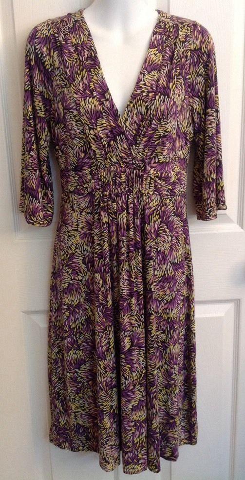 Boden Empire Waist Stretch Jersey Knit Dress UK 12R US 8R Purple Pink Yellow #Boden #EmpireWaist