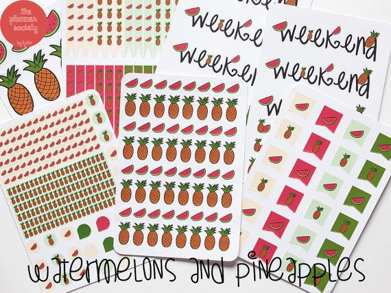 Watermelon and Pineapple Stickers Set di ThePlannerSociety su Etsy