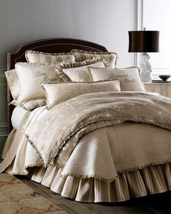 "French Laundry Home ""Maxine"" Bed Linens Serenity in shades of ivory and cream mixes with stripes, embroidery, ruffles, and French wishes for good days and nights for a most enticing setting. From French Laundry Home."