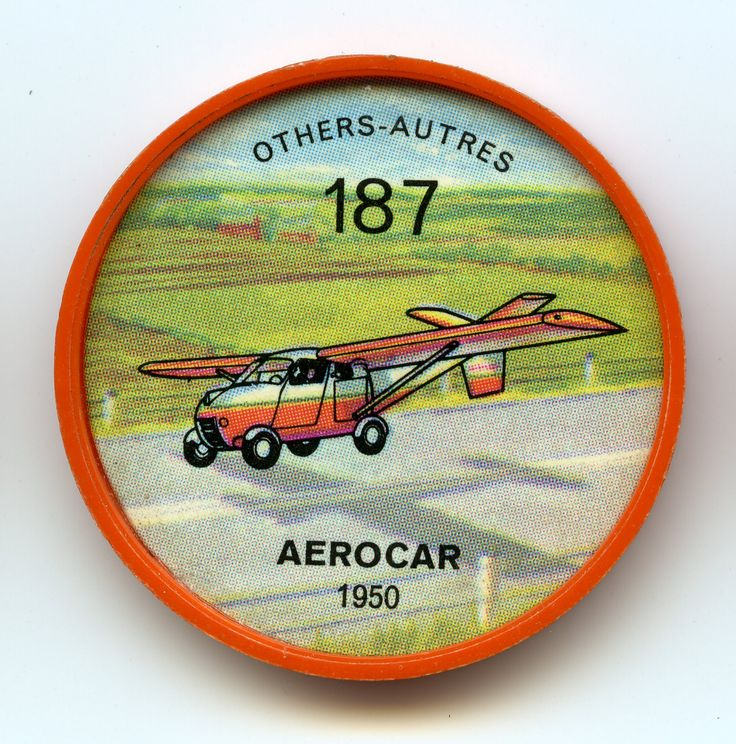 Jell-O Coin 187 - Aerocar (1950) - A two-seat convertible airplane and road vehicle, the Aerocar has been in development since 1948. Accumulated road mileage on six completed Aerocars is more than 150,000 miles, and they have logged more than 2,000 flying hours. Completely roadworthy, the Aerocar can tow its wings-tail assembly as a trailer. Specifications: Wingspan 34 feet. Length 21 feet, 6 inches. Weight 2,100 pounds. Speed 100 mph. Power - 1 153 hp Lycoming engine