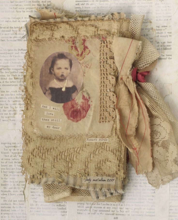 """THIS IS AMI XED MEDIA FABRIC COLLAGE BOOK OF LITTLE GIRLS WITH RED ROSES. I USED PARTS OF A ROBERT BURNS POEM ON THE PAGES. IT MEASURES APPROX. 5 1/2"""" X 9"""".   eBay!"""