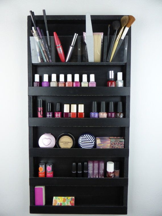 Items Similar To Black Make Up Organizer Nail Polish Rack   Bathroom Storage   Pencil Brush Lipstick Holder Wall Hanging  Plexiglass  Acrylic Beauty ...