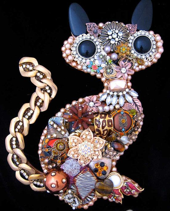 Cat Vintage Jewelry Art Kitty Cat Art by ArtCreationsByCJ