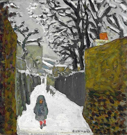 """bofransson: """"PIERRE BONNARD (1867-1947) Paysage De Neige, Enfant Au Capuchon """""""