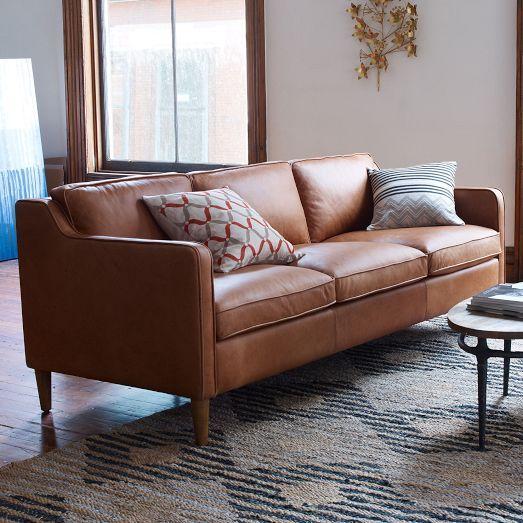 hamilton leather sofa inspired by 1950s furniture silhouettes the hamilton sofa feels as. Black Bedroom Furniture Sets. Home Design Ideas