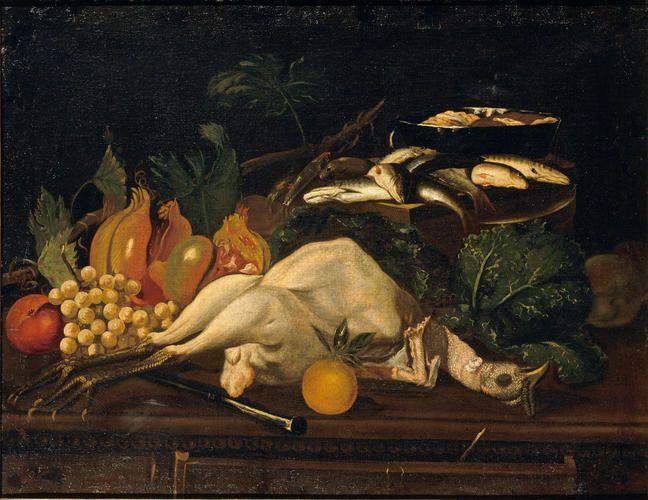 Baschenis Evaristo - Natura morta con frutta, cavoli, pesci e un tacchino spennato - 1680-1690 - Accademia Carrara di Bergamo Pinacoteca