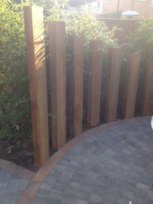 Garden Screen Designs love the inset planting areas the gatewaycan be modern or cottage depending Railway Sleeper Screen Google Search