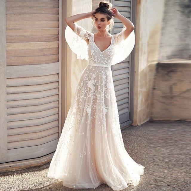 Hochzeitskleid 2019 Tüll Applikationen V-Ausschnitt rückenfrei mit Flügelärmeln Spitze romantische Brautkleider Vestido De Novia