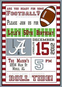 Any Team Football Birthday Invitation Digital File 5x7 LSU Alabama Razorbacks | eBay cowboys bears giants