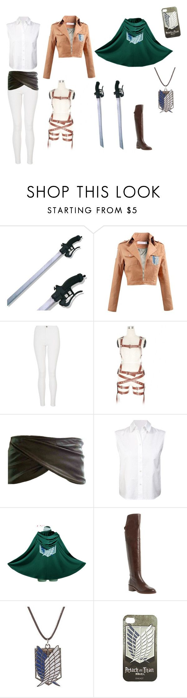 """""""Attack on Titan cosplay"""" by marahunterofartemis ❤ liked on Polyvore featuring Quiz, T By Alexander Wang and Dune"""