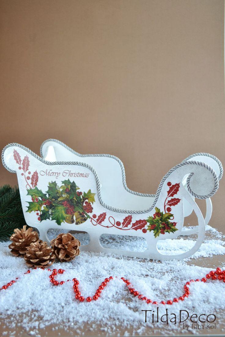 Купить Рождественские Сани (большие) - белый, сани, розовый, сани новогодние, сани санта клауса