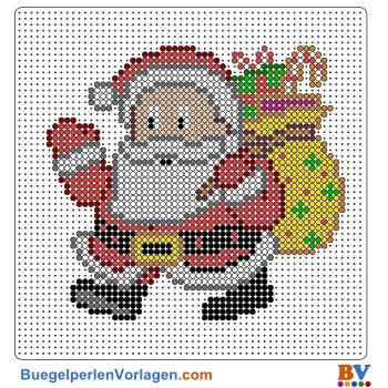 Weihnachtsmann Bügelperlen Vorlage. Auf buegelperlenvorlagen.com kannst du eine große Auswahl an Bügelperlen Vorlagen in PDF Format kostenlos herunterladen und ausdrucken.