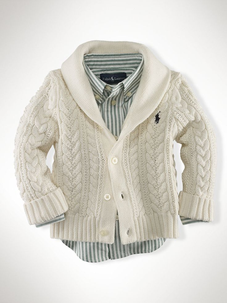 Cable Shawl-Collar Cardigan - Sweaters   Infant Boy (9M-24M) - RalphLauren.com
