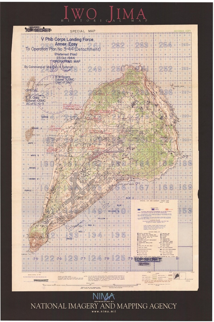 Iwo Jima Operations Map. This is significant showing the war plans it was vital that the marines had a plan this was a battle that was like no other. #rothzroom