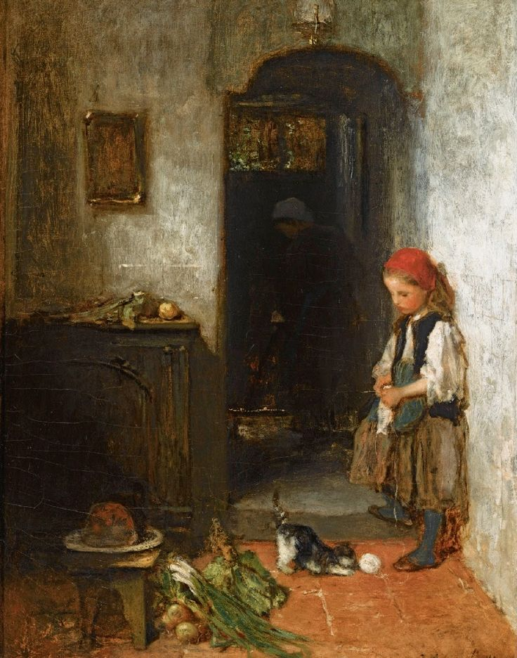 Galerii de arta: Jacob Maris (25 august 1837 – 7 august 1899), A Girl with a Playing kitten. pictor olandez