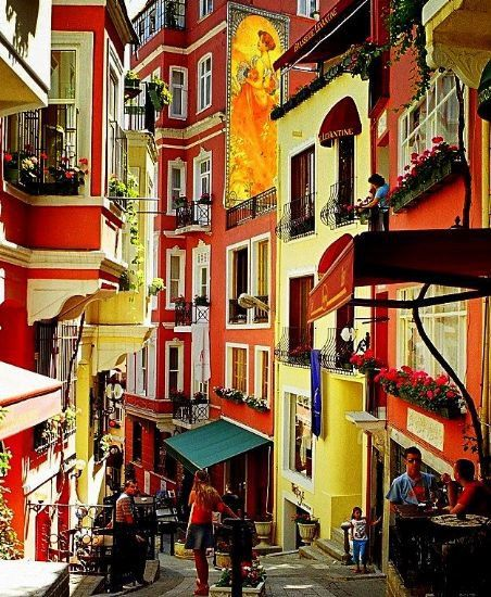 Colourful buildings in  Istanbul
