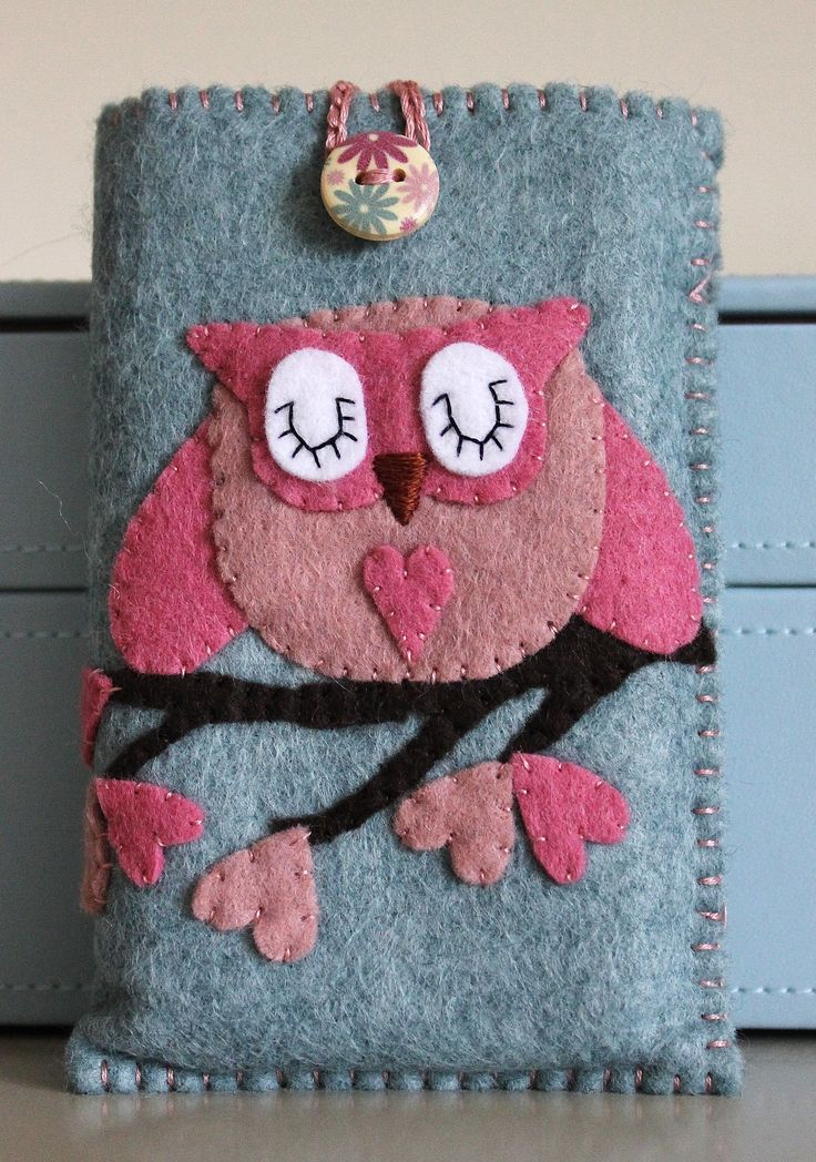 Wool felt phone case featuring my signature owl design and finished with a tilda button. 100% hand stitched  £17 plus p   www.facebook.com/EmilyLoveshandmade